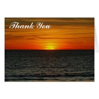 Gracias - tarjeta de la puesta del sol