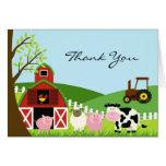 Gracias tarjeta de los animales