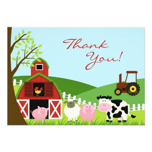 Gracias tarjeta de los animales invitación