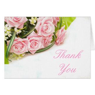 Gracias tarjeta de nota color de rosa rosada del b