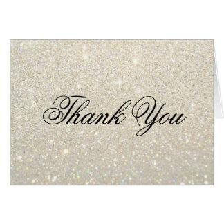 Gracias tarjeta de nota - oro blanco Glit fabuloso