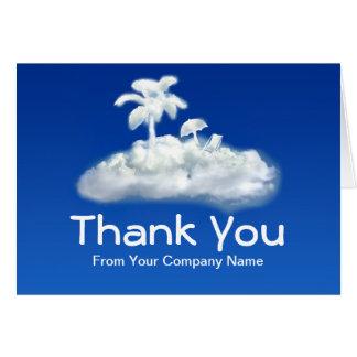 gracias tarjeta de nota por la agencia de viajes