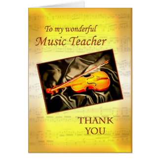 Gracias tarjeta de profesor de música con un