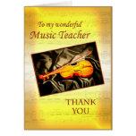 Gracias tarjeta de profesor de música con un violí