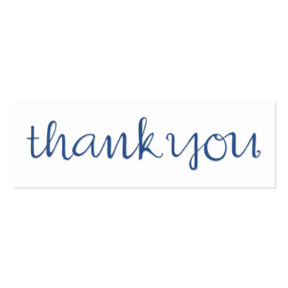 Gracias tarjeta de visita azul cursiva