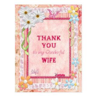 Gracias tarjeta del arte de la esposa, de las tarjeta postal