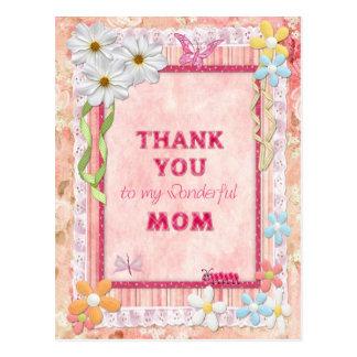 Gracias tarjeta del arte de la mamá, de las flores tarjeta postal