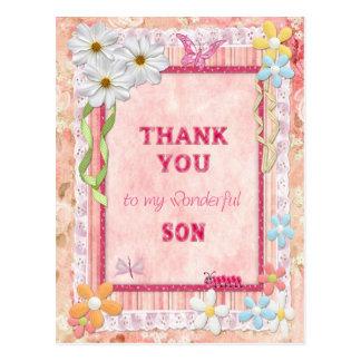 Gracias tarjeta del arte del hijo, de las flores y postales