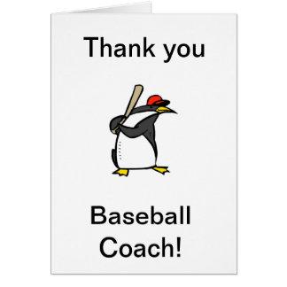 Gracias tarjeta del entrenador de béisbol