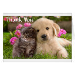 Gracias tarjeta del perrito y del gatito del golde