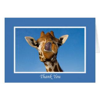 Gracias, tarjeta divertida de la jirafa
