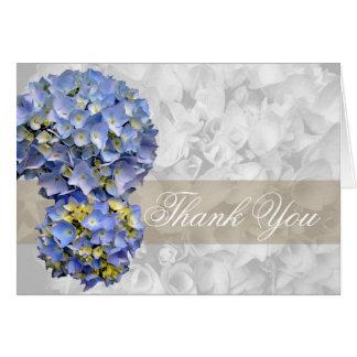 Gracias, tarjeta doblada Hydrangea azul alfa