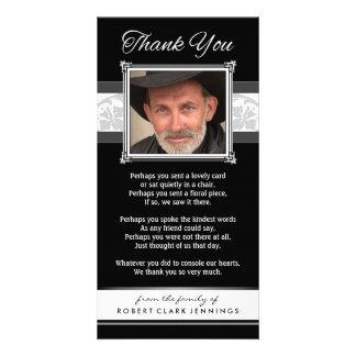 Gracias tarjeta negra y blanca conmemorativa de la tarjeta personal con foto
