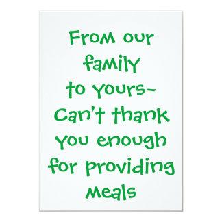 """Gracias tarjeta - para proporcionar comidas invitación 5"""" x 7"""""""