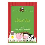 Gracias tarjeta plana de los animales invitacion personalizada