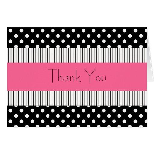 Gracias tarjeta rosada blanco y negro del lunar