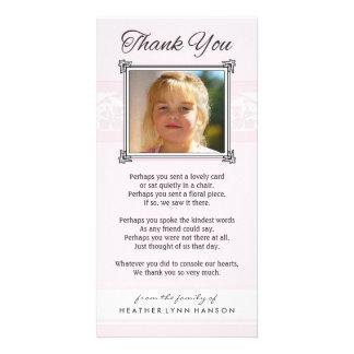 Gracias tarjeta rosada y blanca conmemorativa de tarjetas fotográficas