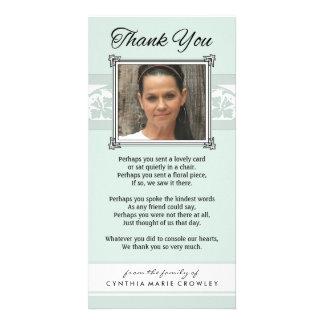 Gracias tarjeta verde clara y blanca conmemorativa tarjetas fotográficas personalizadas
