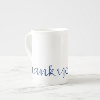 Gracias taza azul cursiva de la porcelana de hueso tazas de china