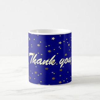 Gracias taza de oro azul de las estrellas