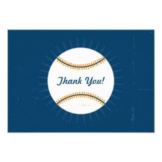Gracias tema plano del béisbol de las tarjetas de comunicados personalizados