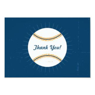 """Gracias tema plano del béisbol de las tarjetas de invitación 3.5"""" x 5"""""""