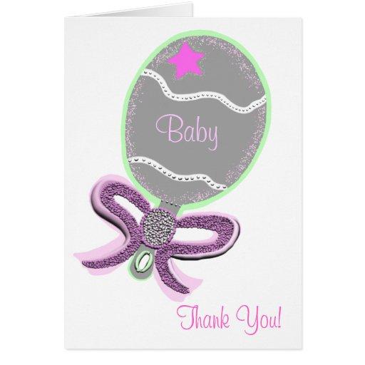 Gracias traqueteo del arco del rosa de las tarjeta