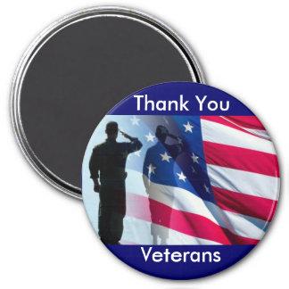 Gracias tributo de los militares de los veteranos imán redondo 7 cm