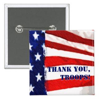 ¡Gracias, tropas! Botón de la bandera americana Pin
