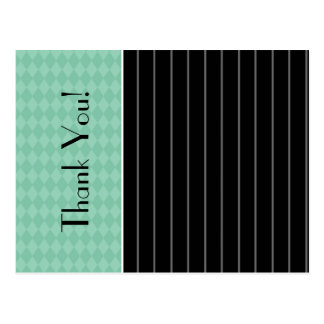 Gracias trullo negro de moda Argyle de la tela a r Postales