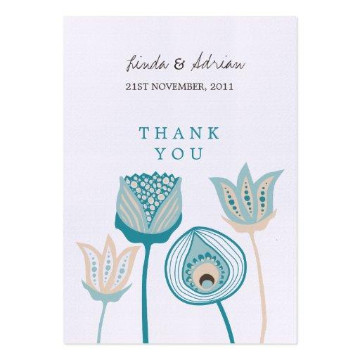 Gracias turquesa de las etiquetas del favor del re tarjetas de visita grandes