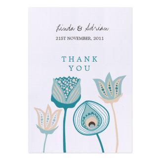 Gracias turquesa de las etiquetas del favor del tarjetas de visita grandes