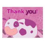 """""""Gracias"""" vaca rosada linda Tarjeta Postal"""