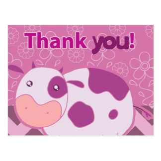 """Gracias"" vaca rosada linda Postales"