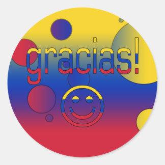 Gracias! Venezuela Flag Colors Pop Art Classic Round Sticker