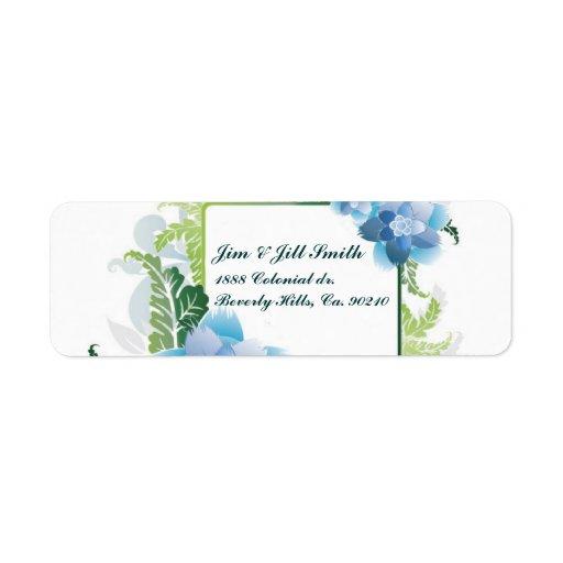 Gracias verde azul floral etiqueta de remitente