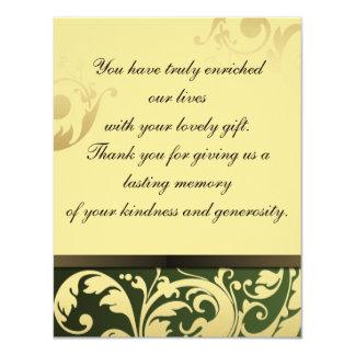 Gracias verde y oro de la invitación de boda de la invitación 10,8 x 13,9 cm