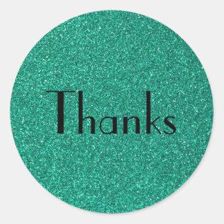 Gracias verdes chispeantes de la textura del etiquetas redondas
