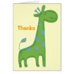 Gracias verdes del Applique de la jirafa Tarjeta Pequeña