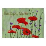 Gracias veterano con las amapolas tarjeta