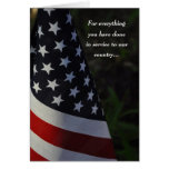 Gracias veterano en la tarjeta de la bandera del d