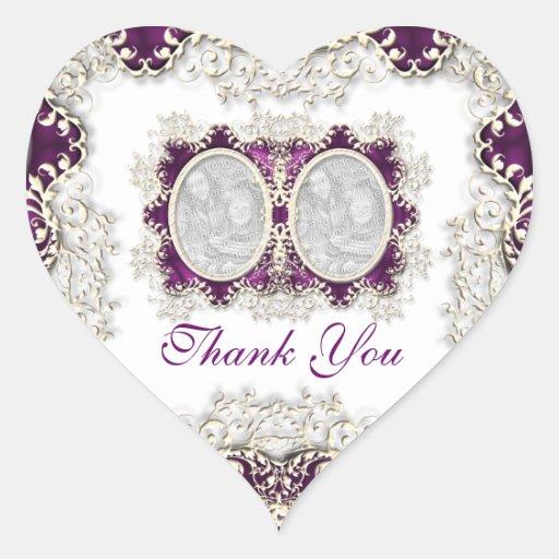 """""""gracias"""" vintage que casa púrpura pegatina en forma de corazón"""