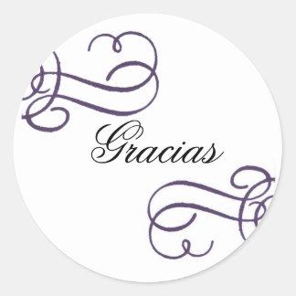 Gracias- with purple scroll classic round sticker