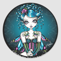 couture, victorian, swallow, tattoos, rose, pink, teal, fairy, faery, faerie, fairies, butterfly, gothic, myka, jelina, art, Sticker with custom graphic design