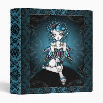swallow, tattoo, baroque, binder, notebook, big, eyed, fantasy, fairy, faery, fae, faerie, fairies, couture, corset, teal, myka, jelina, art, characters, Binder with custom graphic design