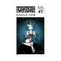 swallow, tattoo, big, eyed, fantasy, fairy, faery, fae, faerie, fairies, couture, corset, teal, myka, jelina, postage, fairie, stamps, art, characters, Stamp with custom graphic design