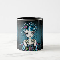 swallow, tattoo, fairy, mug, big, eyed, fantasy, faery, fae, faerie, fairies, couture, corset, teal, myka, jelina, posters, art, characters, Mug with custom graphic design