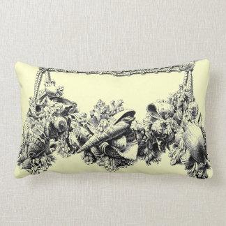 Gracious Beach House Baroque Sea Shell Swag Wreath Lumbar Pillow