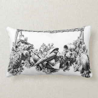Gracious Beach House Baroque Sea Shell Swag Wreath Throw Pillow