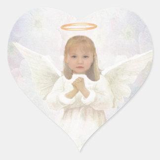 Gracious - Little Girl Angel Praying Heart Sticker